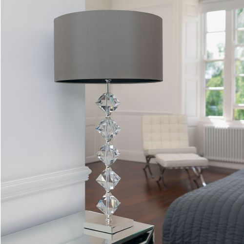Clear Crystal Table Lamp Complete With Shade VERDONE